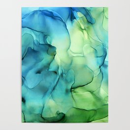 Blue Green Spring Marble Abstract Ink Painting Poster