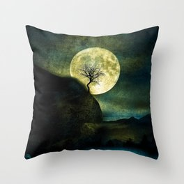 The Moon and the Tree. Throw Pillow