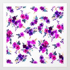Ava Floral Purple Art Print