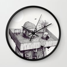 kid please draw me a house Wall Clock