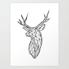 Black Line Faceted Stag Trophy Head Art Print