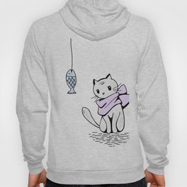 Little cat and a death fish Hoody