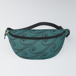 Sea Waves at Night Pattern - Dark Turquoise Fanny Pack