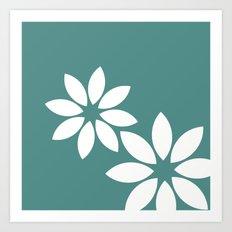 Flora2 (teal) Art Print
