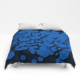 3D Cobalt blue Cubes Comforters