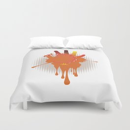 Orange hand chicken Duvet Cover