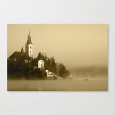 Misty Lake Bled in Sepia Canvas Print