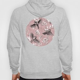 Flowers and Flight in Monochrome Rose Pink Hoody