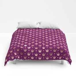 Purple & Rose Gold Crown Pattern Comforters
