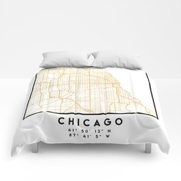 CHICAGO ILLINOIS CITY STREET MAP ART Comforters