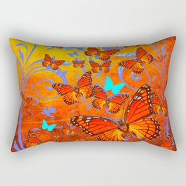 Decorative Orange Monarch  Butterflies with Yellow-Turquoise Rectangular Pillow