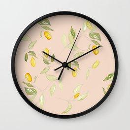Watercolor Kumquat Peach Background Wall Clock