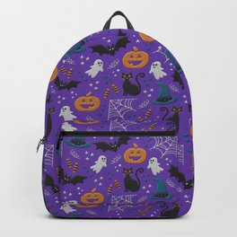 Halloween party illustrations purple realistic embroidery print Backpack