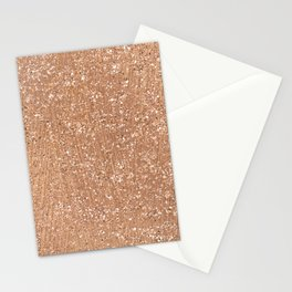 Rose gold brushstrokes and glitter Stationery Cards