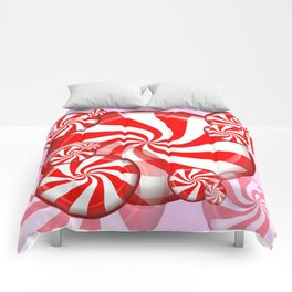 RED PEPPERMINT CHRISTMAS HOLIDAY CANDY Comforters