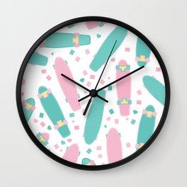 Pastel Skateboards Pattern Wall Clock