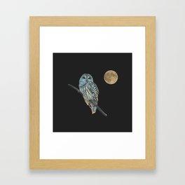 Owl, See the Moon (sq Barred Owl) Framed Art Print