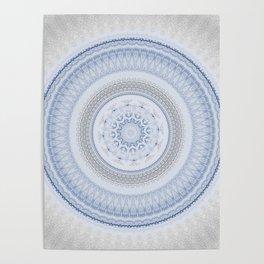 Elegant Blue Silver China Inspired Mandala Poster