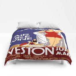 Vintage Weston Super Mare England Travel Comforters