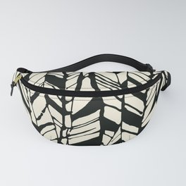 black and white feather texture Fanny Pack