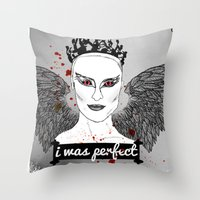 black swan Throw Pillows featuring Black Swan by raeuberstochter