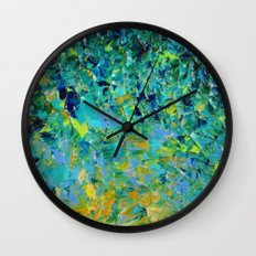 BEAUTY BENEATH THE SURFACE - Stunning Ocean River Water Nature Green Blue Teal Yellow Aqua Abstract Wall Clock