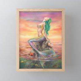 fantasy mermaid at amazing sunset Framed Mini Art Print