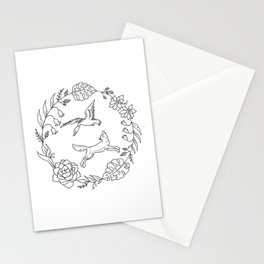 Fox and Loon Playing in Floral Wreath Design — Floral Wreath with Animals Illustration Stationery Cards
