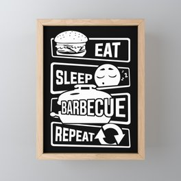 Eat Sleep Barbecue Repeat - Grill BBQ Smoker Framed Mini Art Print