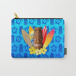 Surfboards And Tiki Mask Carry-All Pouch