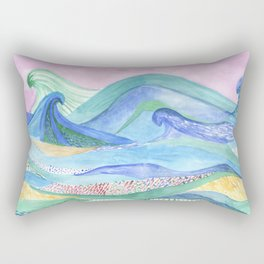 Watercolor abstarct sea and mountans background Rectangular Pillow