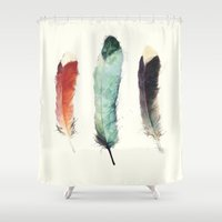 amy pond Shower Curtains featuring Feathers by Amy Hamilton