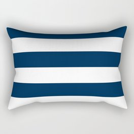 Horizontal Stripes - White and Oxford Blue Rectangular Pillow
