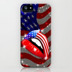 USA Flag Lipstick on Sensual Lips iPhone (5, 5s) Slim Case