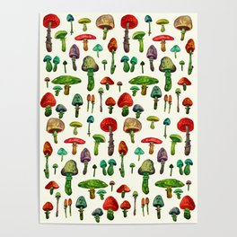 littel mushrooms Poster