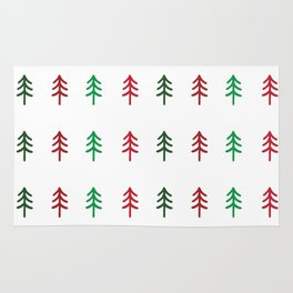 Hand drawn forest green and red trees for Christmas time Rug