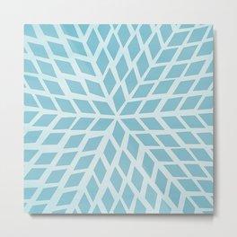 Light blue, diamond, mosaic pattern. Moroccan tile. Metal Print