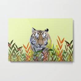 Tiger between leaves Metal Print