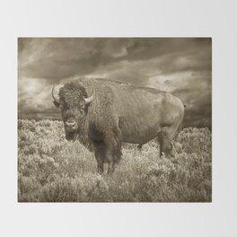 American Buffalo in Sepia Tone Throw Blanket