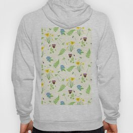 Spring Flowers and Ferns Illustrated Pattern Print Hoody