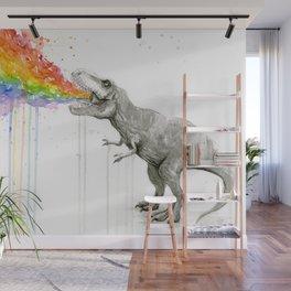 T-Rex Dinosaur Rainbow Puke Taste the Rainbow Watercolor Wall Mural