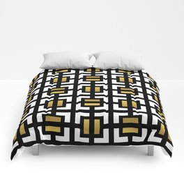 Modern geometric background gold,black and white #society6 #decor #buyart #artprint Comforters