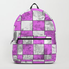 Textured Pink And White Squares Backpack