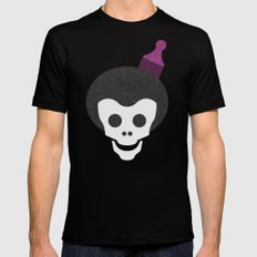Skull with Fro. MEDIUM Mens Fitted Tee Black