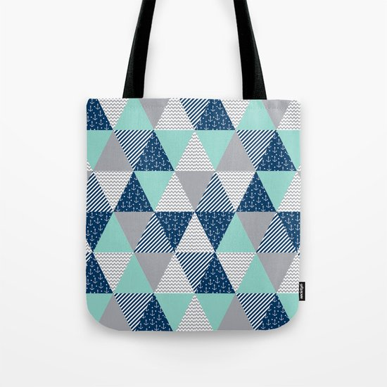 Triangle quilt pattern navy grey and white minimal modern basic nursery Tote Bag