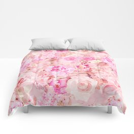 Country chic pink coral watercolor summer floral Comforters