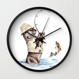 """"""" Natures Fisherman """" fishing river otter with trout Wall Clock"""