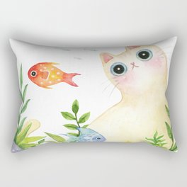The Aquarium Cat Rectangular Pillow