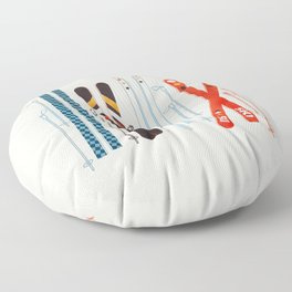 Retro Ski Illustration Floor Pillow