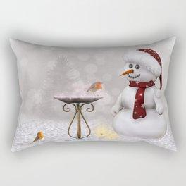 Robin and Snowman Rectangular Pillow
